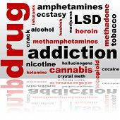 picture of lsd  - Concept illustration showing a word cloud composed of different drug names - JPG