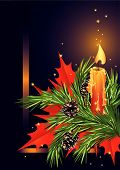 picture of christmas star  - Christmas card with candle and fir branch - JPG