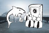 pic of loan-shark  - Loan shark and finance doodles against cityscape on the horizon - JPG