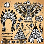 stock photo of wigwams  - Vintage Tribal native American set of symbols - JPG