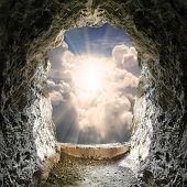 foto of wall-stone  - Light at end of the tunnel - JPG