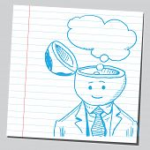 picture of bubble sheet  - Businessman open headed with thought bubble  - JPG