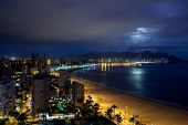 stock photo of costa blanca  - View of Benidorm at night - JPG