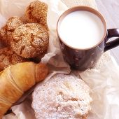 Milk and homemade pastries