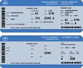 image of aeroplan  - Vector image of airline boarding pass tickets with barcode - JPG