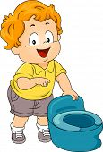Illustration of a Little Boy Standing Beside a Potty
