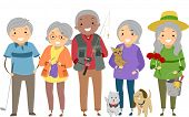 picture of ladies golf  - Illustration Depicting Different Activities Commonly Enjoyed by Senior Citizens - JPG