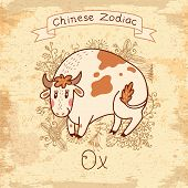 stock photo of oxen  - Vintage card with Chinese Zodiac  - JPG