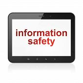 Постер, плакат: Safety concept: Information Safety on tablet pc computer