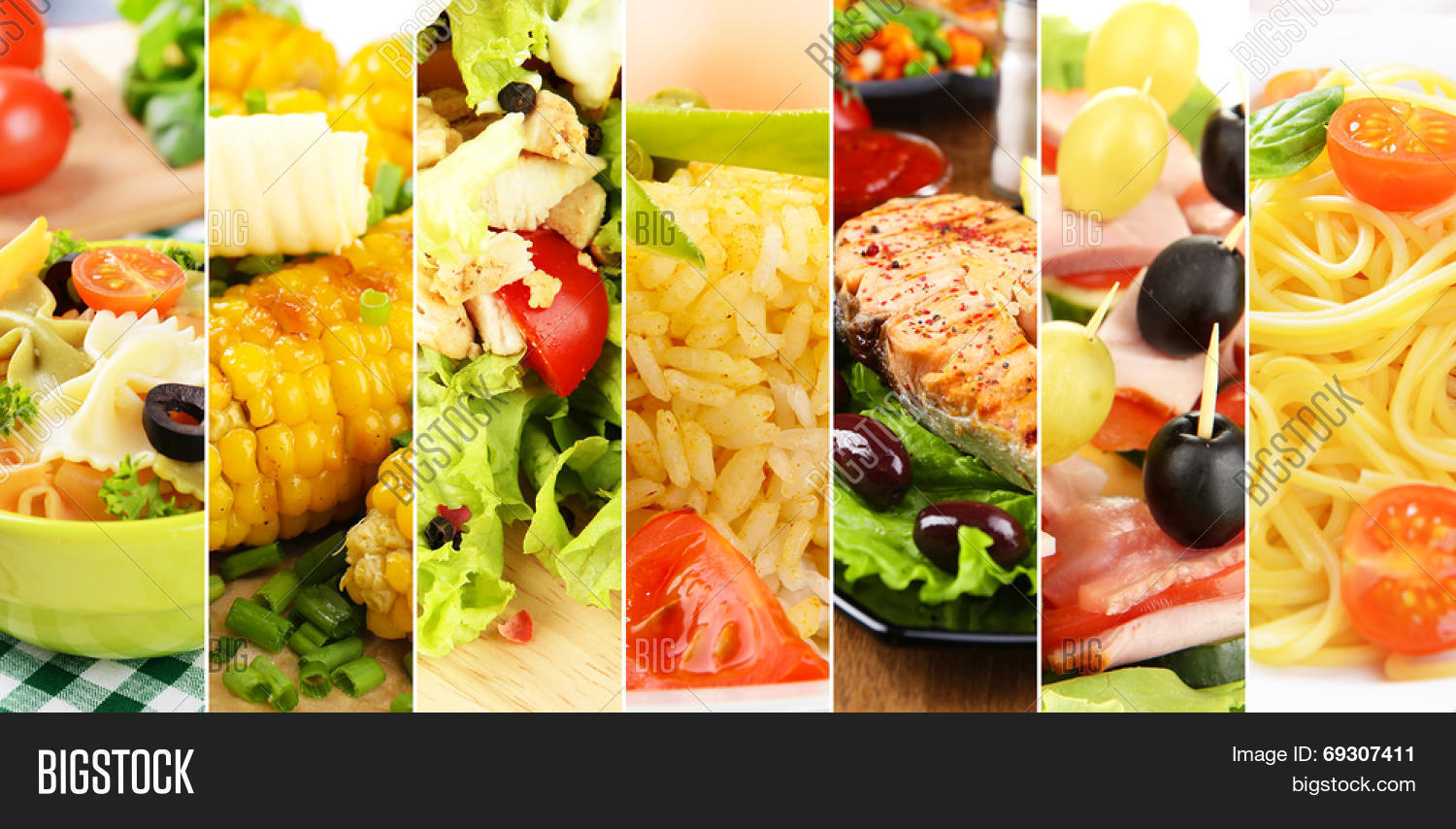 Collage of delicious food close-up Stock Photo & Stock ...