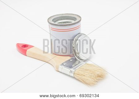 Paintbrush With Paint Pot Isolated On White Background.