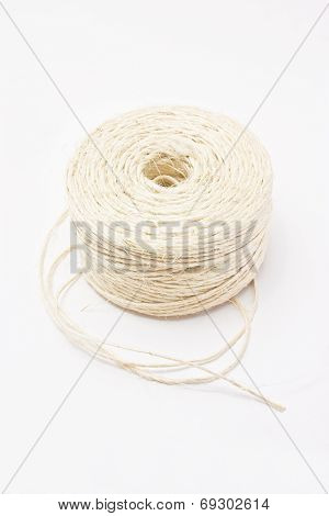 Hank Of White Rope Isolated On White Background.