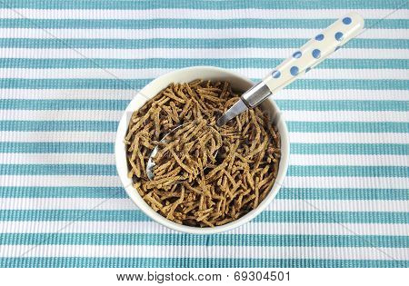 Healthy Diet High Dietary Fiber Breakfast With Bowl Of Bran Cereal On Aqua Blue And White Place Mat.