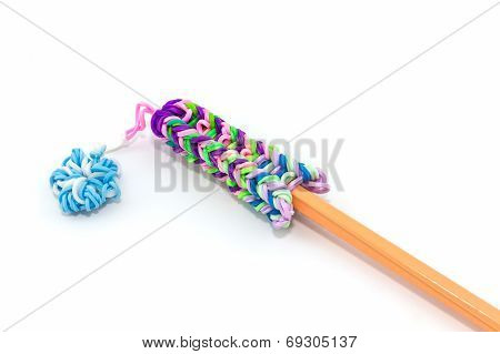 Colorful Elastic Rainbow Loom Bands With Pencil.