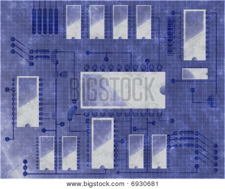 Blueprint type diagram of circuit board