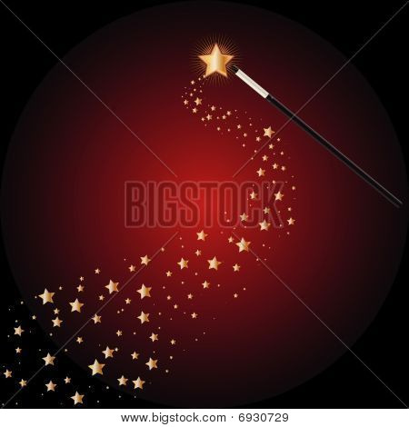 Magic wand with star trails