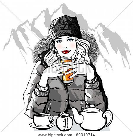 Mountain - Young woman having breakfast before skiing - vector illustration