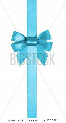 Azure Blue Ribbon Bow Vertical Border