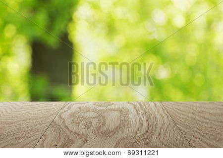 Natural Oak Table Template With Blurred Oak Tree On Background