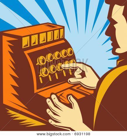 sales clerk or cashier with cash register till