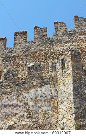 Fortress Wall With Battlements