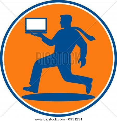 man carrying laptop computer running