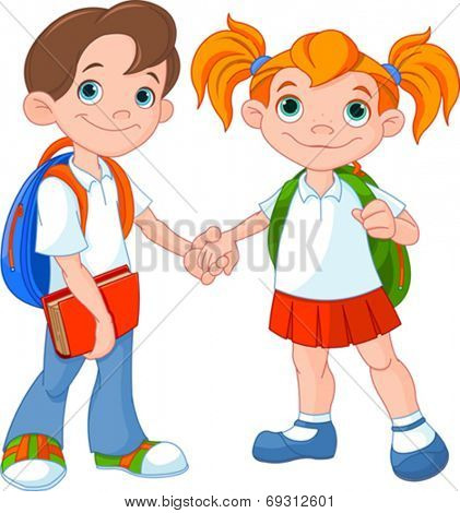 Boy and girl ready to go back to school