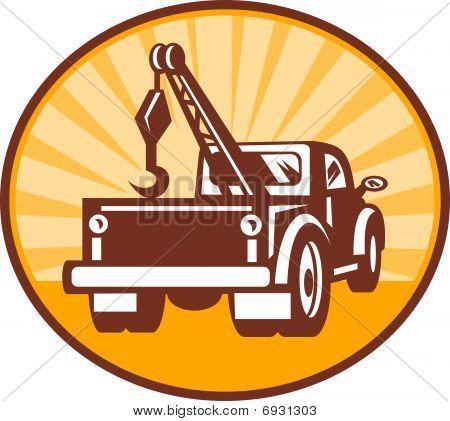 Vista traseira de um caminhão de reboque ou guincho