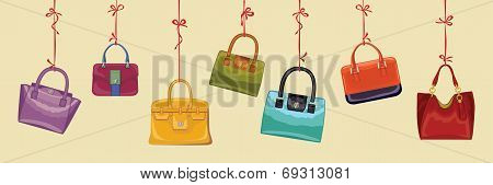 Colorful  Women's Handbags Hang On Ribbons.horizontal Banner