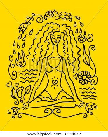 Yoga Woman Tattoo Fake Card, Emblem, Icon. Yellow Background