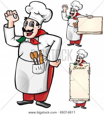 Italian Chef Set Isolated