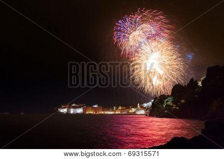 Dubrovnik old city walls and big firework