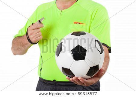 Referee And Ball - Stock Photo