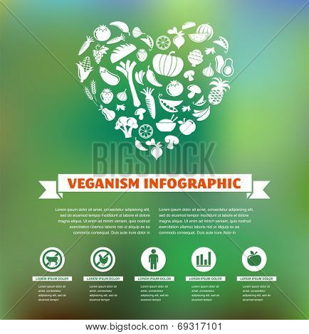 vegetarian and vegan, veganism healthy organic infographic and icon set, flat design concept
