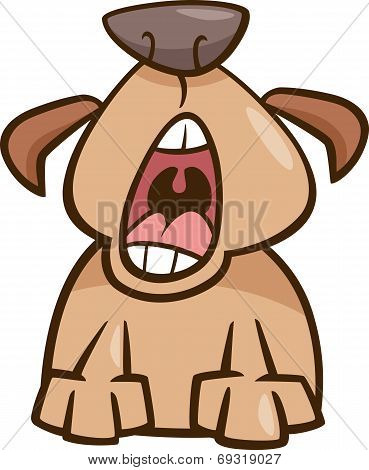 Dog Yawn Cartoon Illustration