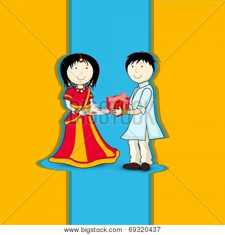 Cute little brother and sister in traditional dress celebration Raksha Bandhan festival.