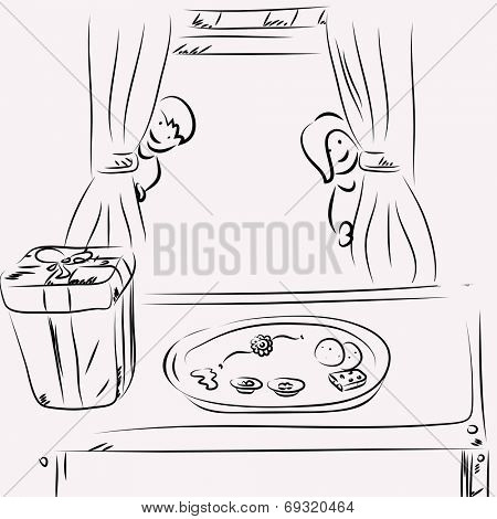 Sketch of a brother and sister watching big gift box and sweets behind from curtain on occasion of Raksha Bandhan festival celebrations.