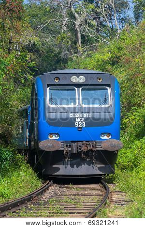 ELLA, SRI LANKA - MARCH 2, 2014: Train on railway in forest. Trains go to Colombo and Kandy from Ella.