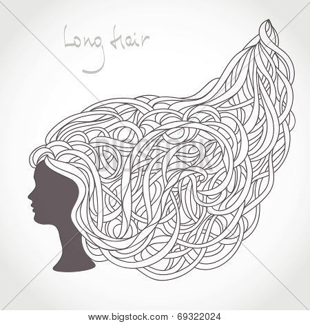 Girl Face Silhouette. Intricate Long Blond Hair