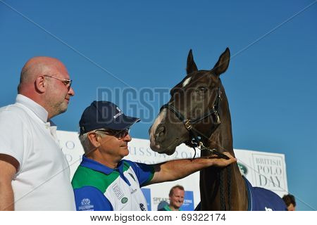 TSELEEVO, MOSCOW REGION, RUSSIA - JULY - July 26, 2014: Alexis Rodzianko holds the best polo pony during the British Polo Day. Tseleevo Golf & Polo Club hosts the event for the second time
