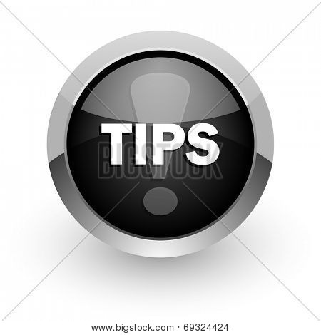 tips black chrome glossy web icon