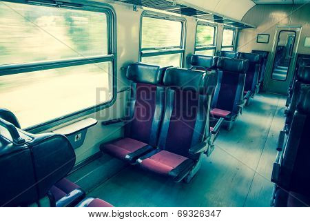 Interior of empty old train