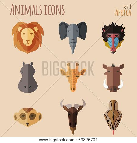 African Animal Portrait Set with Flat Design