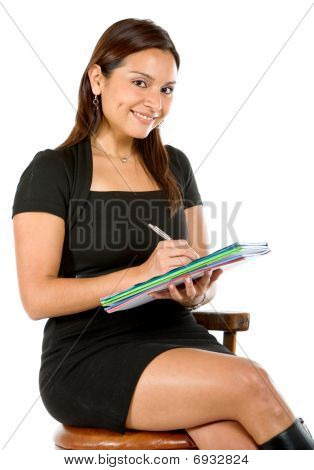 Business Woman Taking Notes