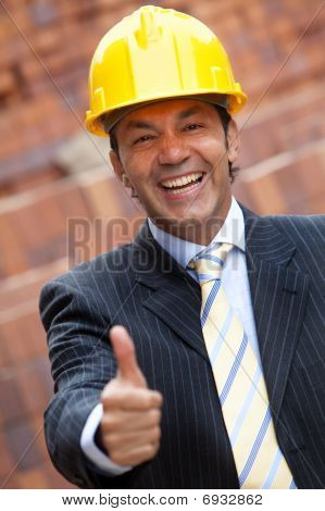 Male Engineer With Thumbs Up