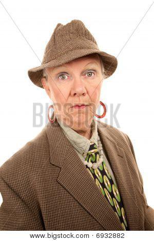 Senior Woman In Man's Clothing