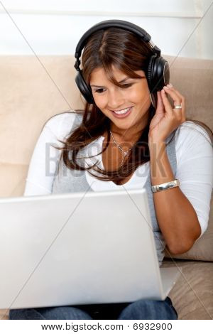 Woman Downloading Music