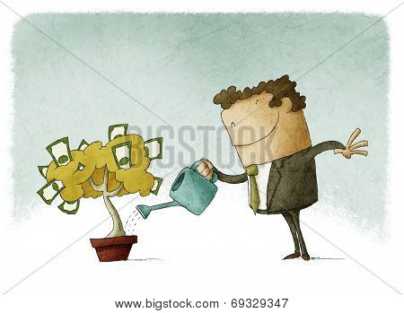 man watering a money tree