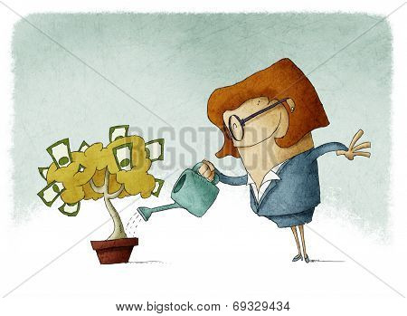 Woman watering a money tree
