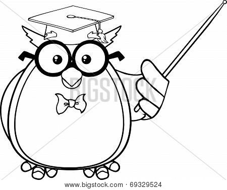 Black And White Wise Owl Teacher Cartoon Character With A Pointer